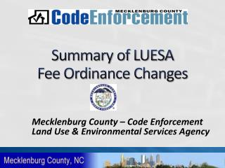 Summary of LUESA  Fee Ordinance Changes