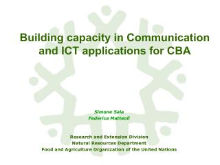 Building capacity in Communication and ICT applications for CBA