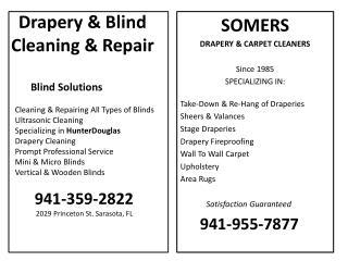 Drapery  Blind Cleaning  Repair
