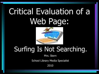 Critical Evaluation of a Web Page: