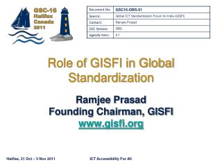 Role of GISFI in Global Standardization