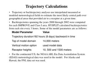 Trajectory Calculations