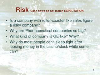 Risk Cash flows do not match EXPECTATION.
