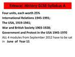 Edexcel  History GCSE Syllabus A