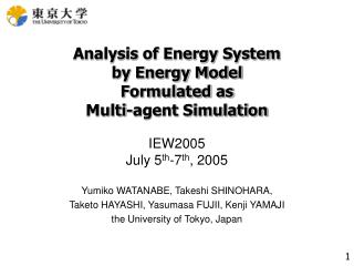 Analysis of Energy System by Energy Model Formulated as  Multi-agent Simulation