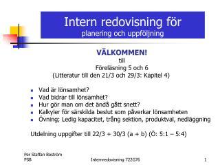 Intern redovisning f r planering och uppf ljning