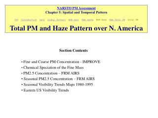 NARSTO PM Assessment Chapter 5: Spatial and Temporal Pattern  TOC  Introduction  Data  Global Pattern  NAM Dust  NAM Smo