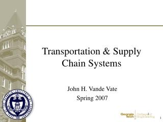 Transportation  Supply Chain Systems