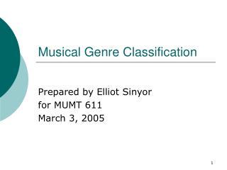 Musical Genre Classification