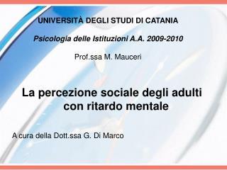 UNIVERSIT  DEGLI STUDI DI CATANIA  Psicologia delle Istituzioni A.A. 2009-2010   Prof.ssa M. Mauceri