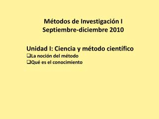 M todos de Investigaci n I Septiembre-diciembre 2010