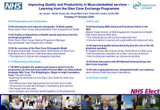 Improving Quality and Productivity in Musculoskeletal services   Learning from the Glen Cove Exchange Programme