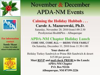 November  December APDA-NM Events