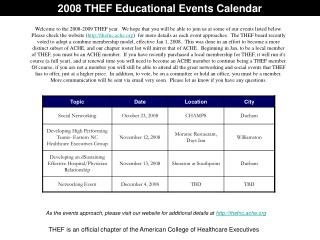 2008 THEF Educational Events Calendar