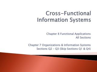 Cross-Functional  Information Systems   Supply Chain Management