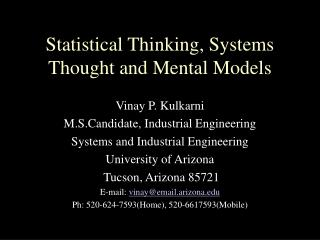 Statistical Thinking, Systems Thought and Mental Models