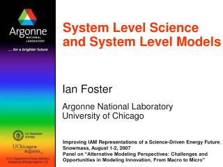 System Level Science and System Level Models