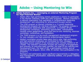 Adobe   Using Mentoring to Win
