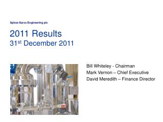 2011 Results  31st December 2011