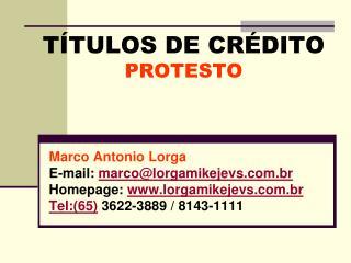 T TULOS DE CR DITO PROTESTO