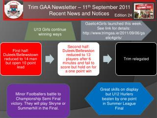 Trim GAA Newsletter   11th September 2011 Recent News and Notices