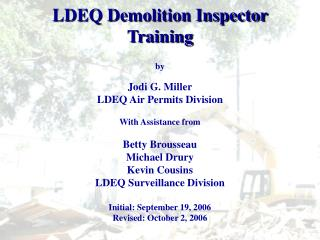 LDEQ Demolition Inspector Training