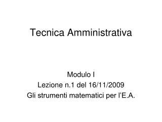 Tecnica Amministrativa