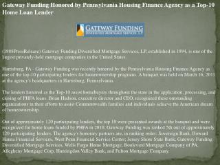 Gateway Funding Honored by Pennsylvania Housing Finance Agen