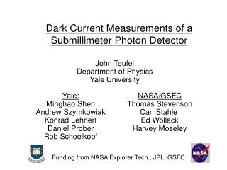 Dark Current Measurements of a Submillimeter Photon Detector