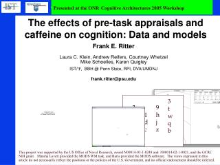 The effects of pre-task appraisals and caffeine on cognition: Data and models