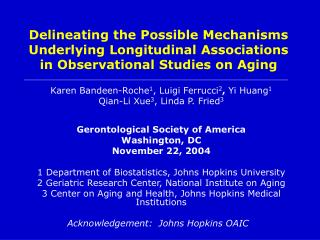 Delineating the Possible Mechanisms Underlying Longitudinal Associations in Observational Studies on Aging