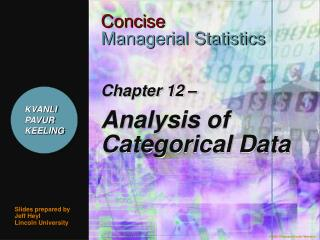 Chapter 12    Analysis of Categorical Data