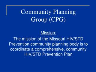 Community Planning  Group CPG