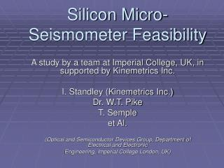 Silicon Micro-Seismometer Feasibility