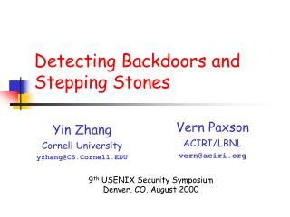 Detecting Backdoors and Stepping Stones