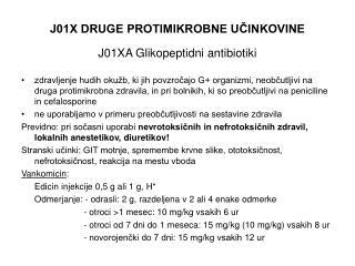 J01X DRUGE PROTIMIKROBNE UCINKOVINE