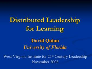 Distributed Leadership for Learning