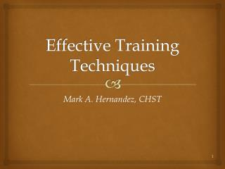 Effective Training Techniques