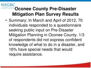 Oconee County Pre-Disaster Mitigation Plan Survey Results