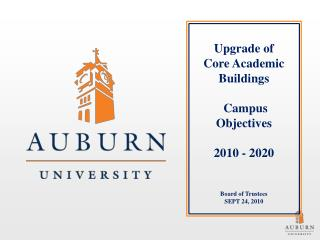 Upgrade of   Core Academic Buildings   Campus Objectives  2010 - 2020     Board of Trustees SEPT 24, 2010