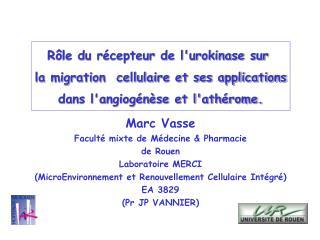 Marc Vasse Facult  mixte de M decine  Pharmacie de Rouen Laboratoire MERCI MicroEnvironnement et Renouvellement Cellulai
