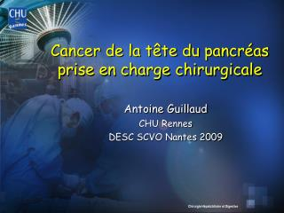 Cancer de la t te du pancr as prise en charge chirurgicale