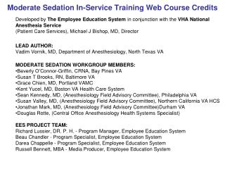Moderate Sedation In-Service Training Web Course Credits