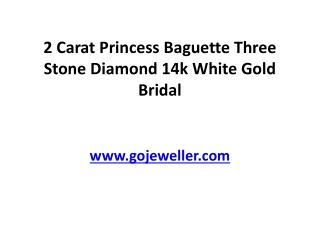2 Carat Princess Baguette Three Stone Diamond 14k White Gold