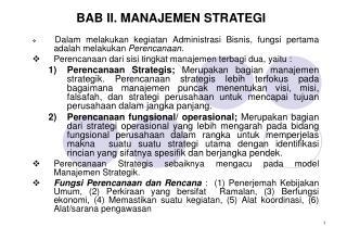 BAB II. MANAJEMEN STRATEGI