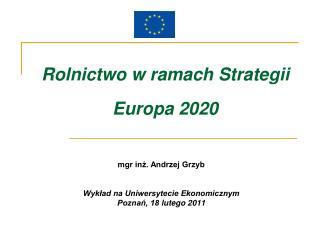 Rolnictwo w ramach Strategii  Europa 2020