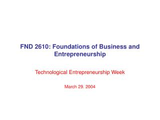 FND 2610: Foundations of Business and Entrepreneurship