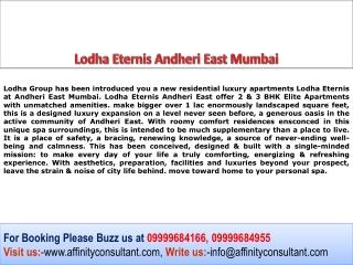 Lodha Eternis 2BHK, 3BHK Comfort Living at Andheri East