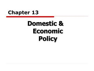Domestic  Economic Policy