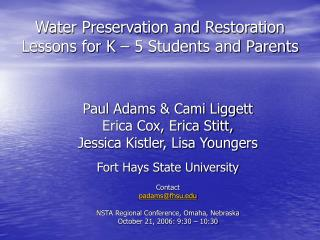 Water Preservation and Restoration Lessons for K   5 Students and Parents